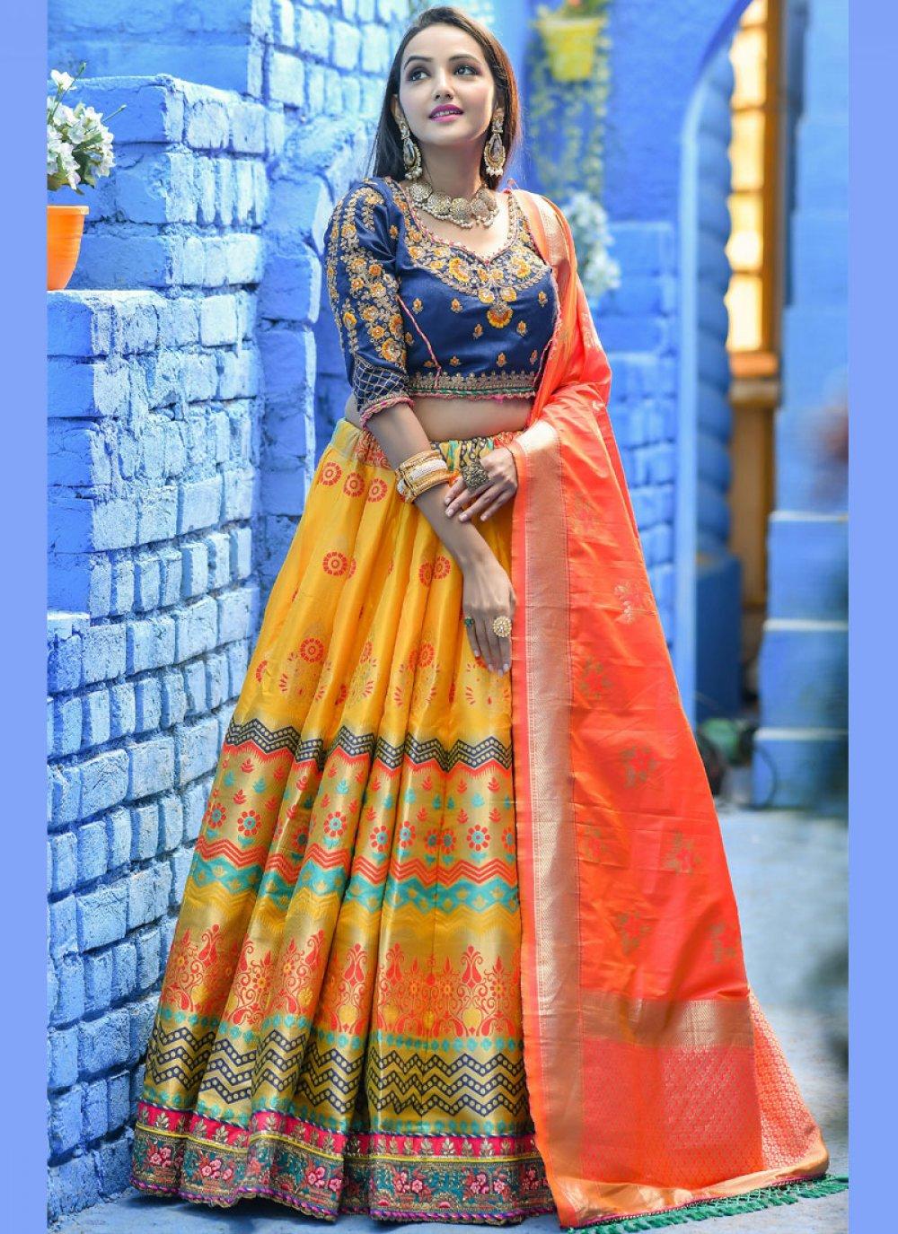 Yellow Sangeet Art Banarasi Silk Lehenga Choli