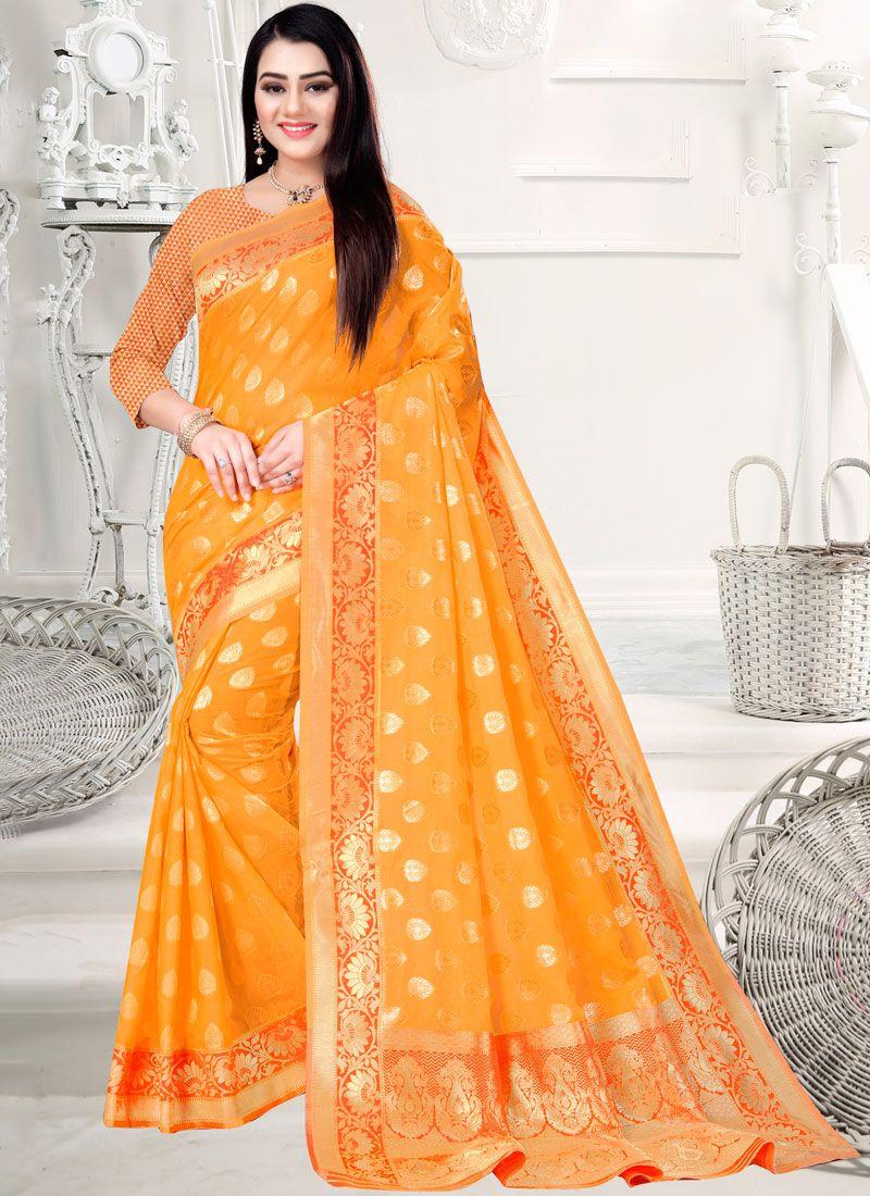 Orange Sangeet Art Silk Cotton Designer Saree