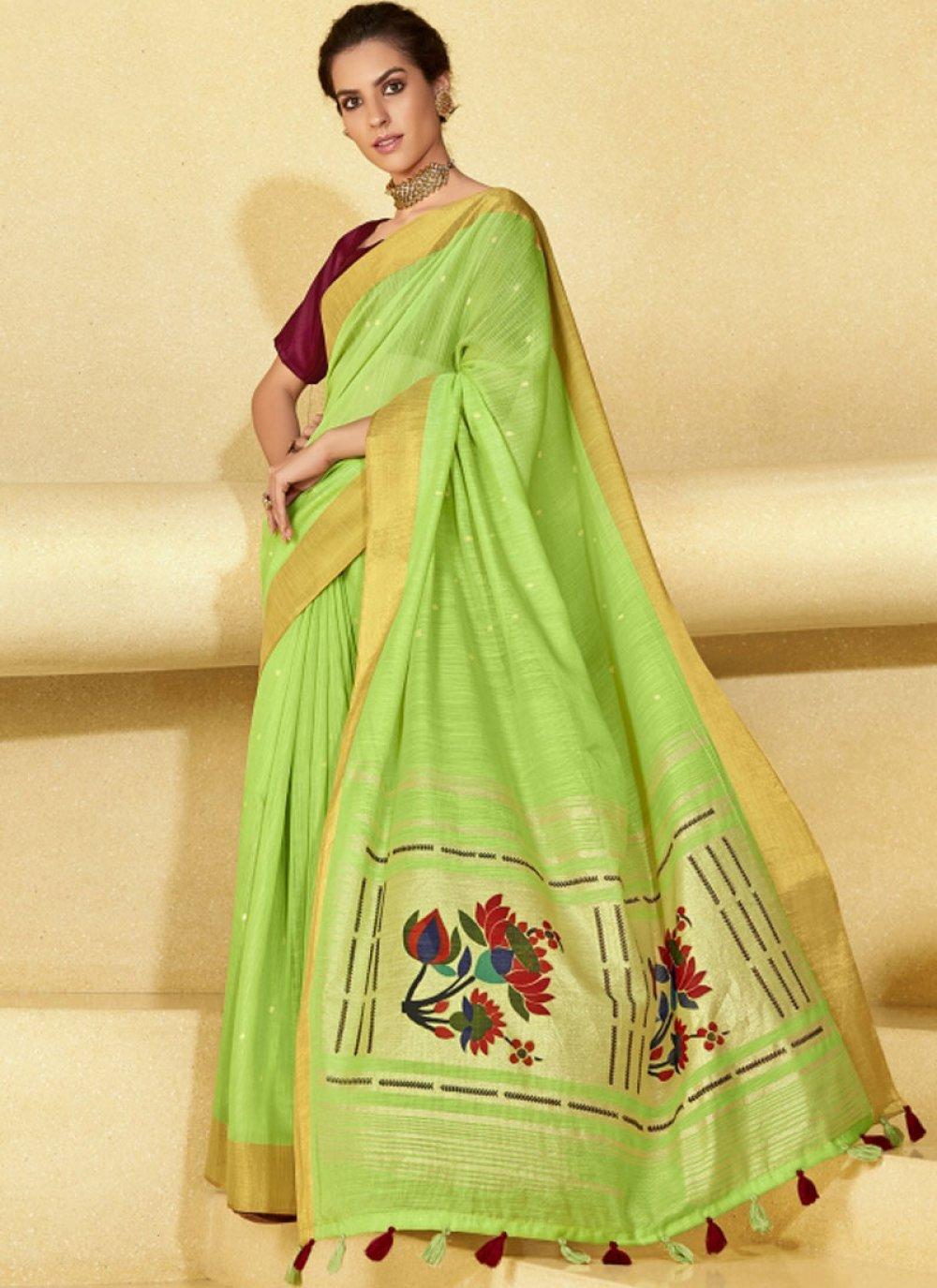 Yellow Sangeet Linen Saree