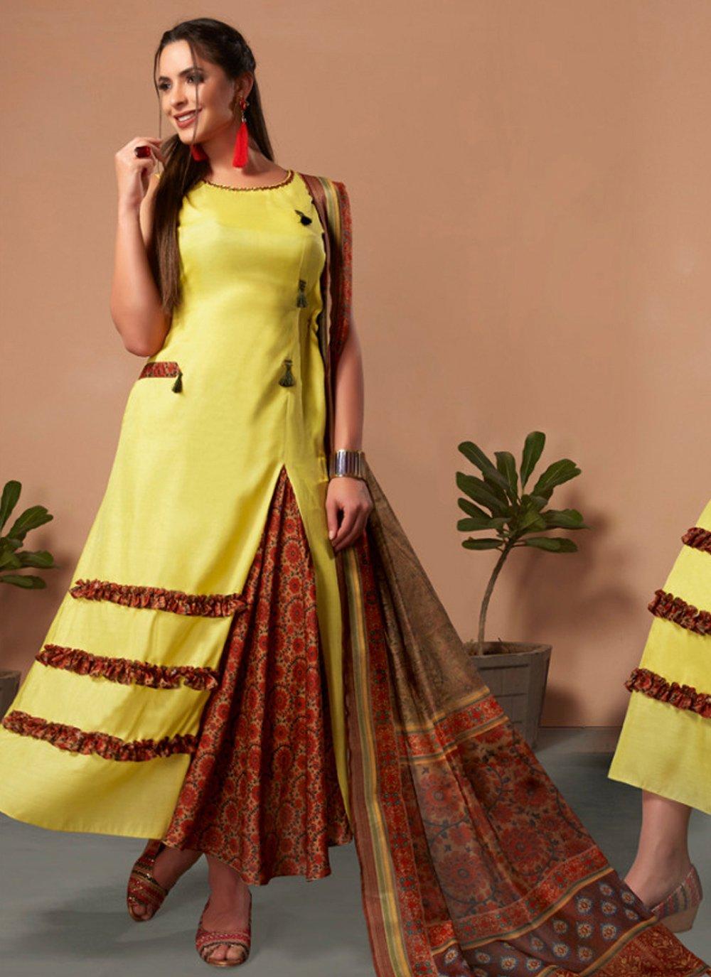 Yellow Silk Casual Kurti