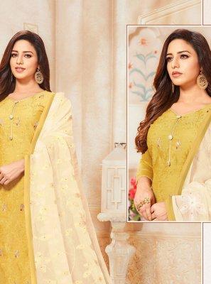 Yellow Silk Designer Salwar Kameez