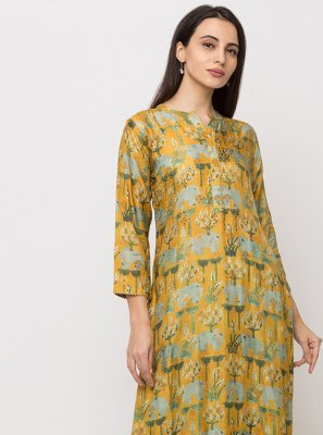 Yellow Silk Digital Print Casual Kurti