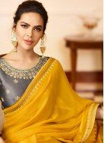 Yellow Silk Embroidered Designer Saree