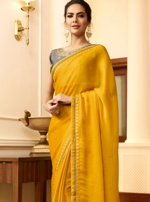 Yellow Silk Embroidered Designer Saree