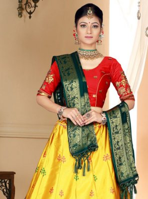 Yellow Silk Embroidered Trendy Lehenga Choli