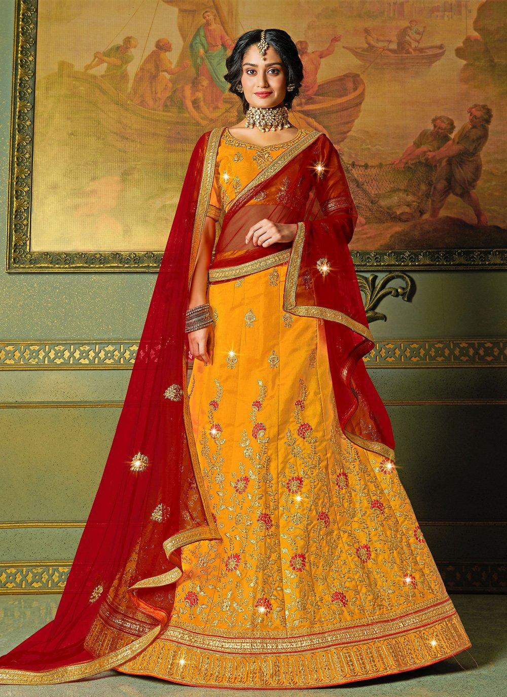 Yellow Silk Engagement Bollywood Lehenga Choli