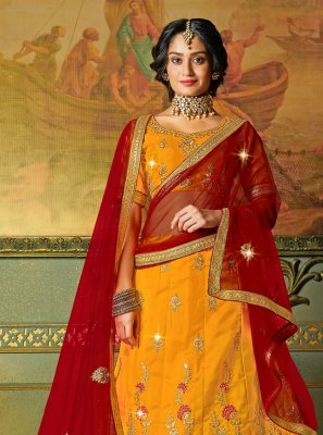 Yellow Silk Engagement Bollywood Lehenga Choli
