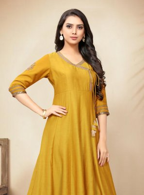 Yellow Silk Party Casual Kurti