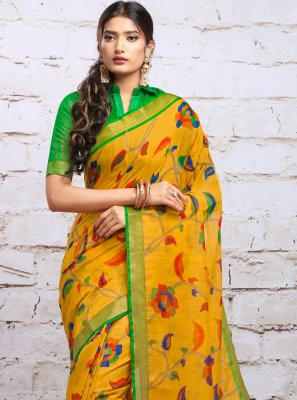Yellow Silk Party Classic Saree