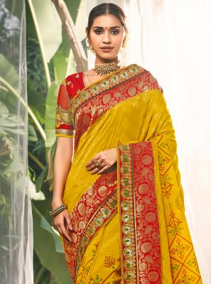 Yellow Silk Party Contemporary Saree