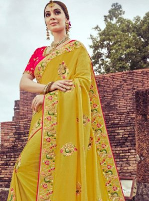 Yellow Silk Shaded Saree