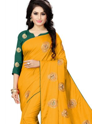 Yellow Silk Silk Saree