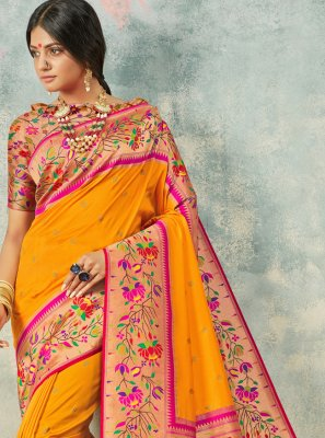 Yellow Silk Traditional Saree