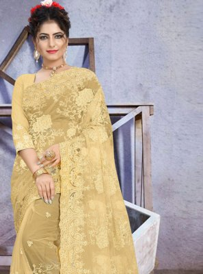 Yellow Stone Work Net Traditional Saree