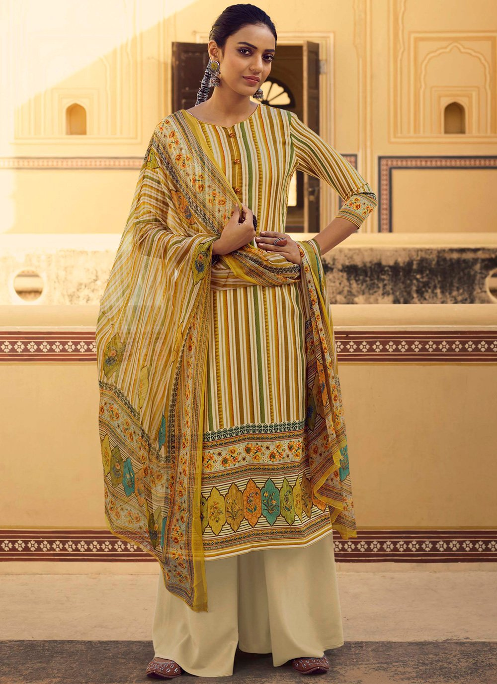 Yellow Stripe Print Casual Salwar Suit