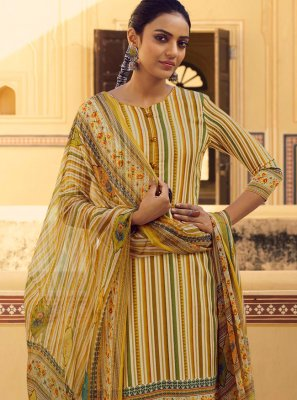 Yellow Stripe Print Casual Salwar Suit