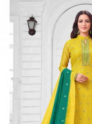 Yellow Thread Reception Salwar Suit