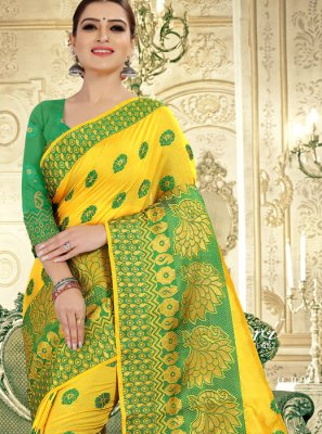 Yellow Weaving Banarasi Silk Traditional Saree