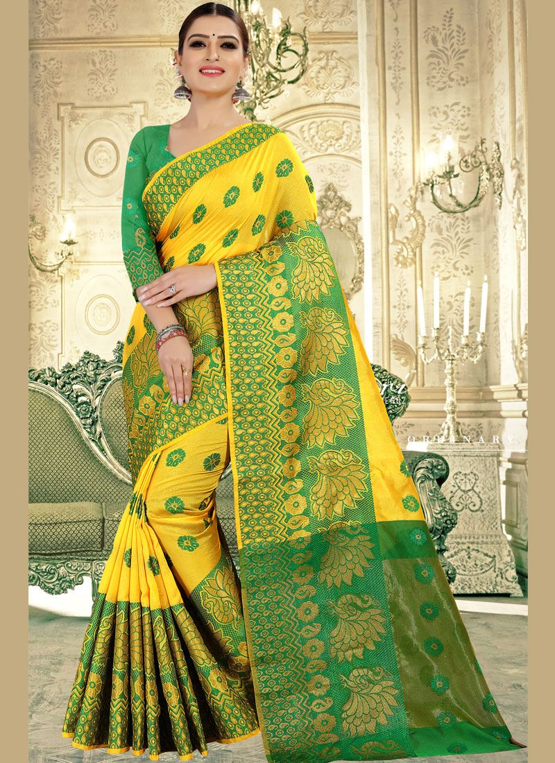 Yellow Weaving Banarasi Silk Traditional Saree