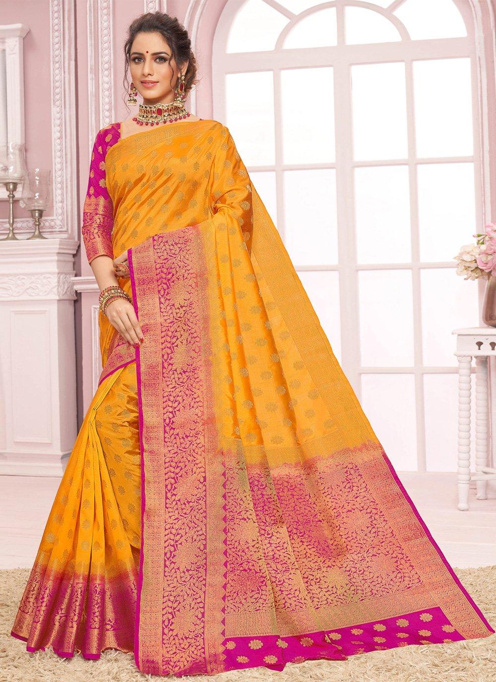 Yellow Weaving Designer Bollywood Saree