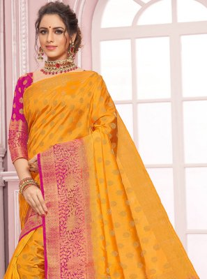 Yellow Weaving Designer Bollywood Saree