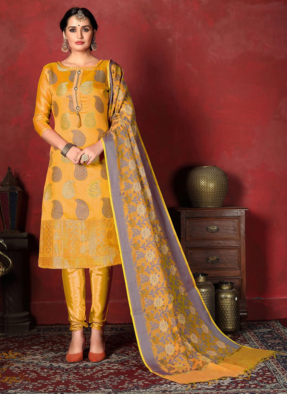 Yellow Weaving Designer Suit