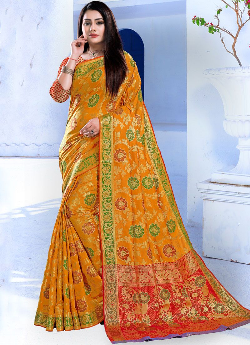 Yellow Weaving Festival Designer Traditional Saree