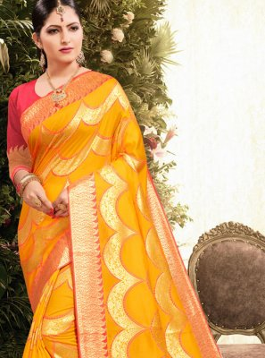 Yellow Weaving Jacquard Classic Saree