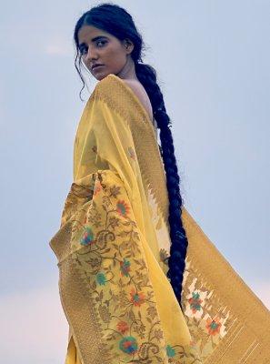 Yellow Weaving Linen Trendy Saree