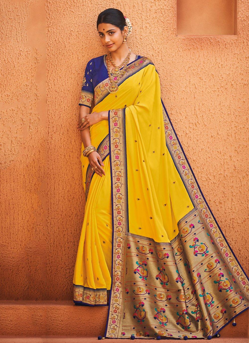 Yellow Weaving Silk Trendy Saree