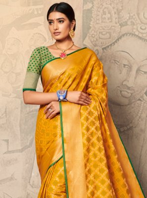 Yellow Weaving Trendy Saree