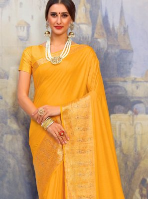 Yellow Woven Festival Designer Traditional Saree