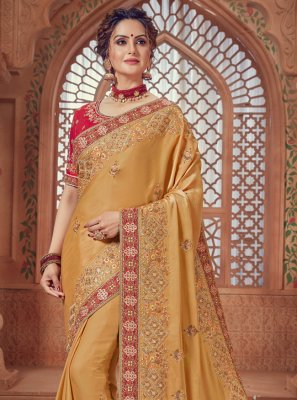 Yellow Woven Wedding Traditional Saree