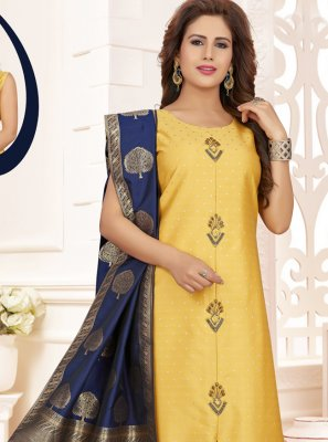 Yellow Zari Silk Churidar Salwar Kameez