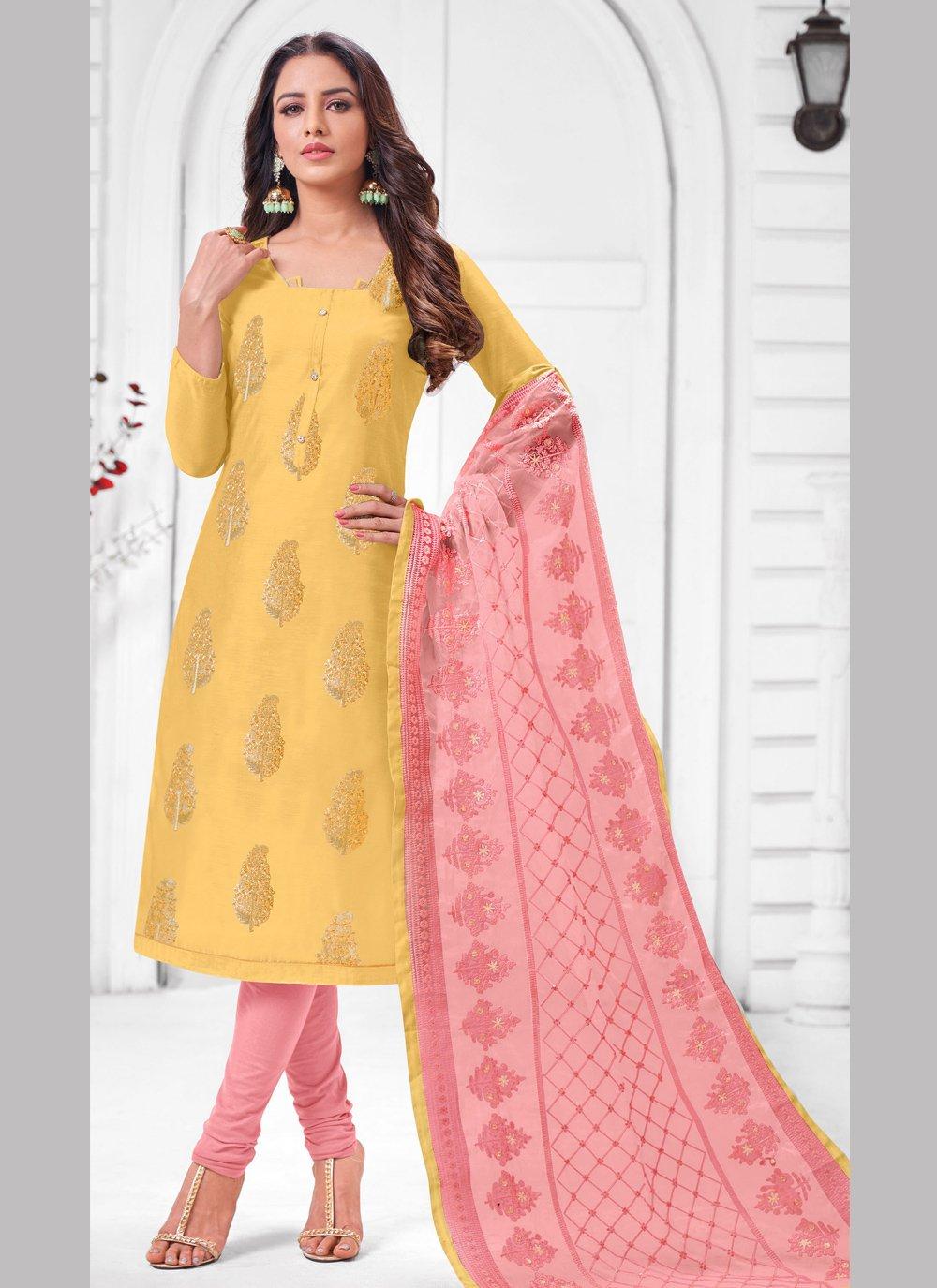 Yellow Zari Silk Salwar Suit