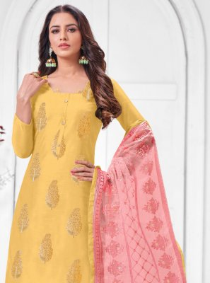 Yellow Zari Silk Salwar Suit