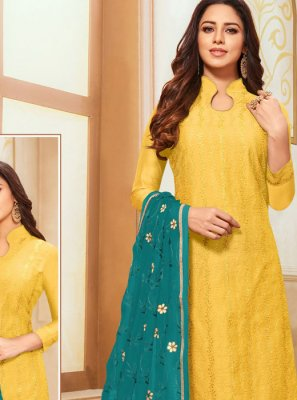 Yellow Zari Trendy Suit