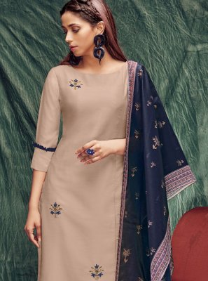 Zardosi Work Cream Silk Casual Kurti