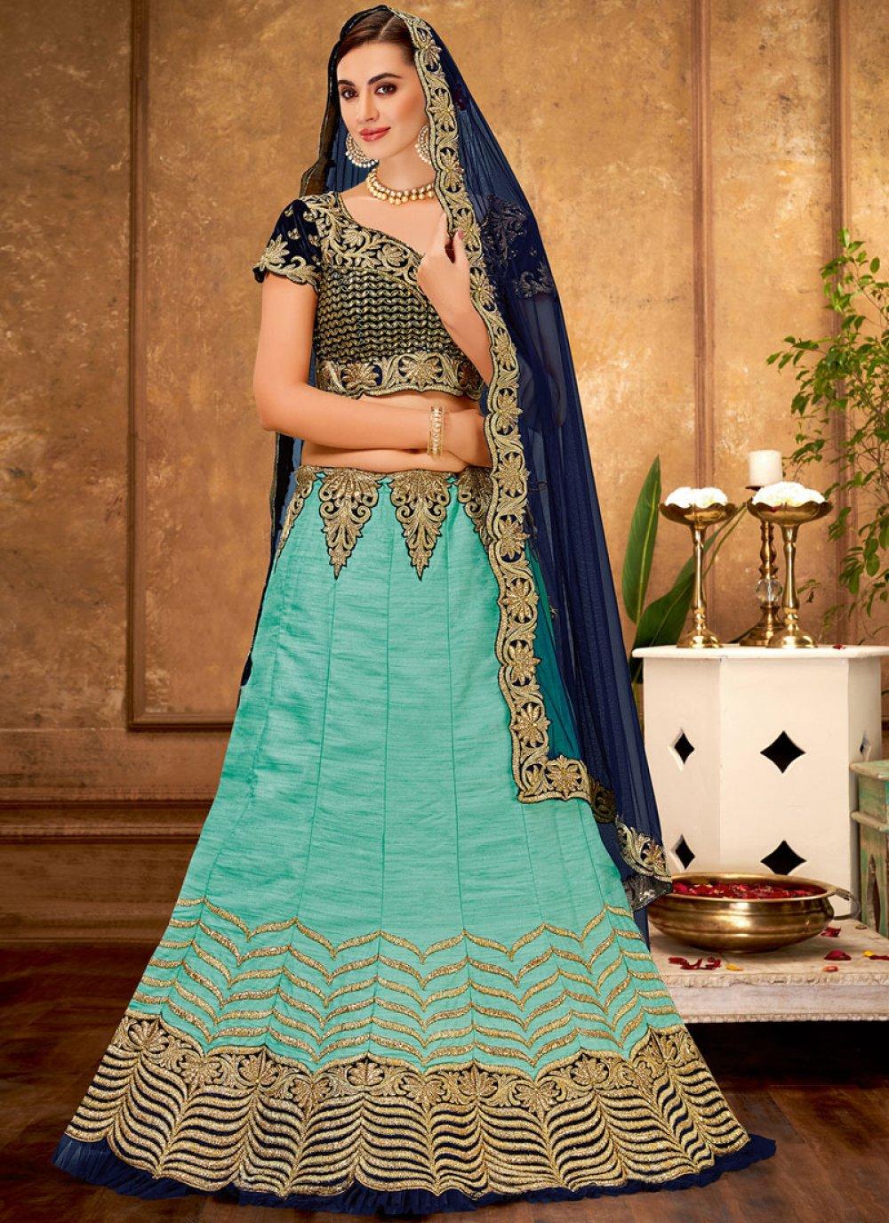 Zari Aqua Blue Raw Silk Trendy A Line Lehenga Choli