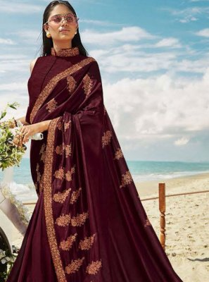 Zari Art Silk Classic Saree in Wine