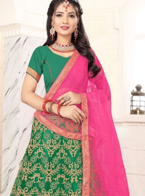 Zari Banglori Silk Trendy Lehenga Choli in Green