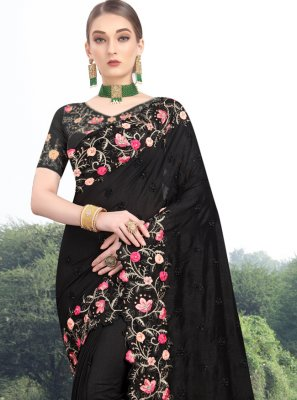 Zari Black Traditional Designer Saree