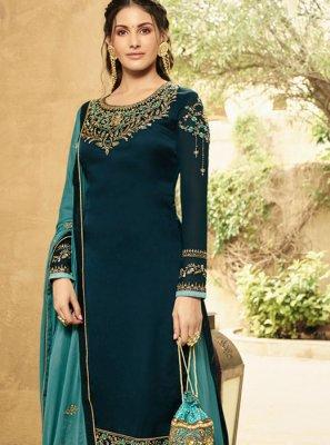 Zari Blue Georgette Designer Salwar Kameez