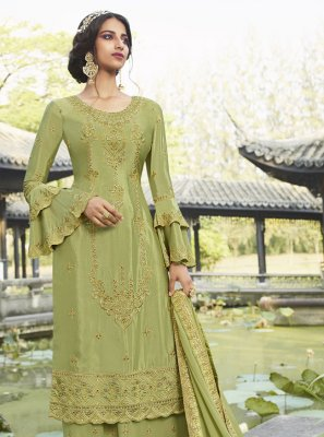 Zari Chinon Salwar Kameez in Green