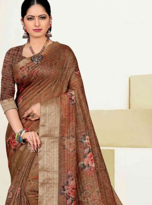 Zari Cotton Brown Designer Traditional Saree