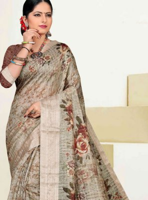 Zari Cotton Traditional Designer Saree in Grey