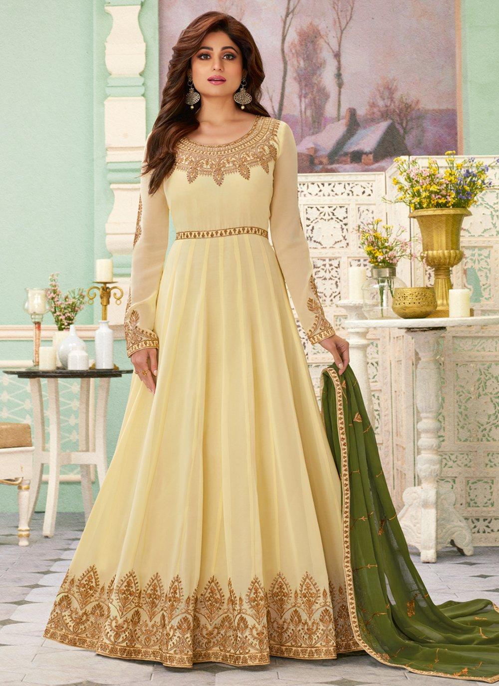 Zari Cream Anarkali Salwar Suit