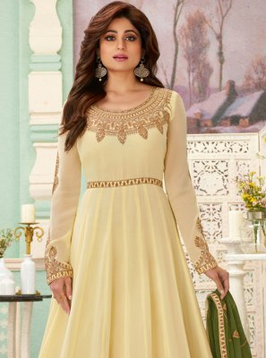 Zari Cream Anarkali Salwar Suit