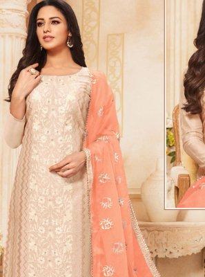 Zari Cream Silk Designer Salwar Suit