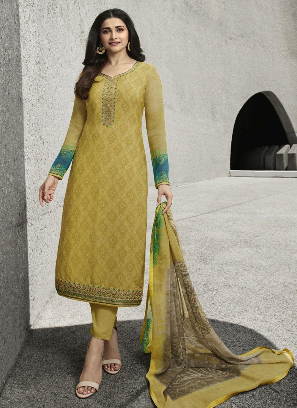 Zari Faux Crepe Designer Salwar Suit